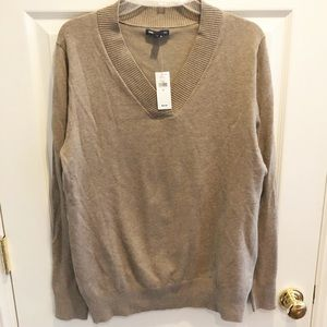 GAP Sweater Cotton Blend Tan V-Neck XL Extra large
